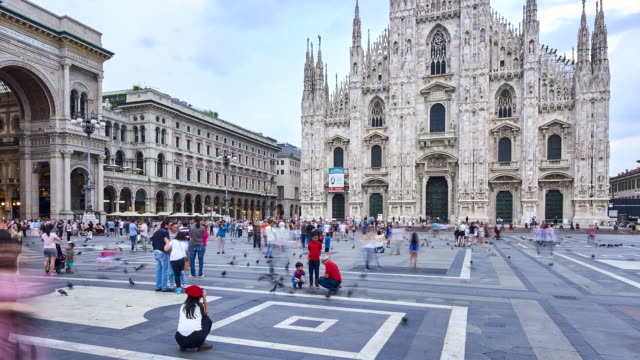 t/l at duomo square in milan - piazza del duomo milan stock videos and b-roll footage