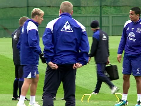 at Finch farm in October 2011 with focus on manager and head coach David Moyes in Liverpool England