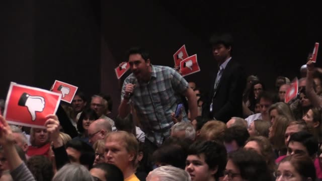 stockvideo's en b-roll-footage met at gop nj rep leonard lance town hall eloquent man demands trump's taxes ties to russia and business dealings - town hall