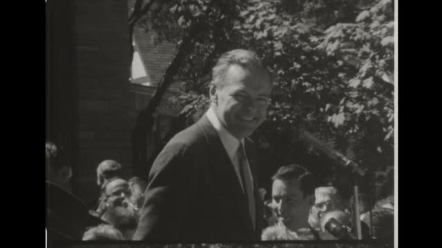 vídeos de stock e filmes b-roll de at grossinger's catskill resort hotel standing with nelson rockefeller henry cabot lodge jr speaks to the crowd about today being his last day as... - appalachia