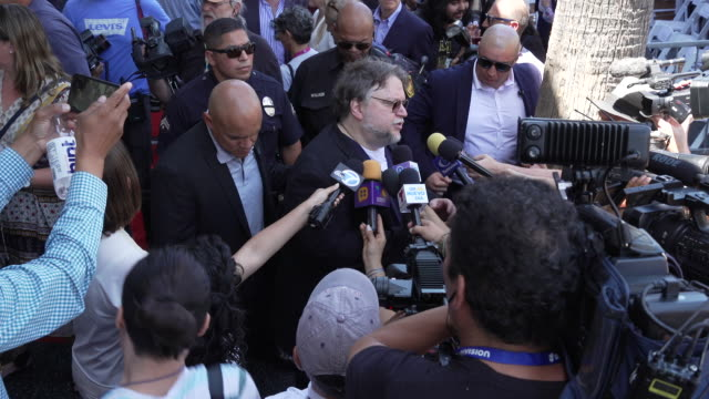 at guillermo del toro honored with a star on the hollywood walk of fame on august 06, 2019 in hollywood, california. - テッド・ダンソン点の映像素材/bロール