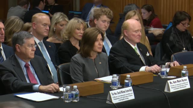 at her nomination hearing to be united states ambassador to north macedonia, kate byrnes tells wisconsin senator ron johnson the united states looks... - reform stock-videos und b-roll-filmmaterial