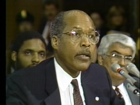 vídeos y material grabado en eventos de stock de at his confirmation hearing, us health and human services secretary designate dr. louis sullivan states that he is opposed to abortion except when... - healthcare and medicine or illness or food and drink or fitness or exercise or wellbeing