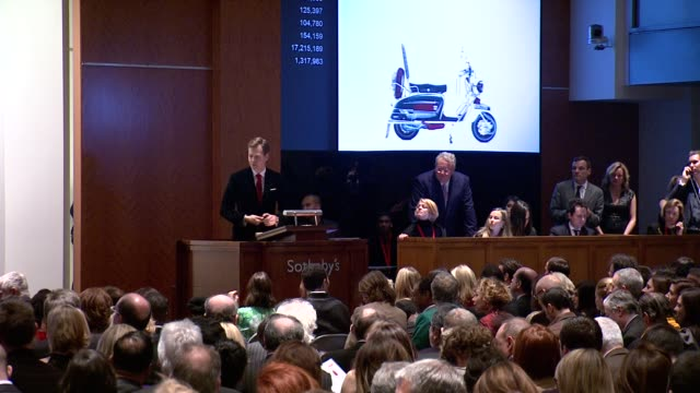 atmosphere at jony and marc's auction at sotheby's on in new york city - sotheby's stock videos and b-roll footage