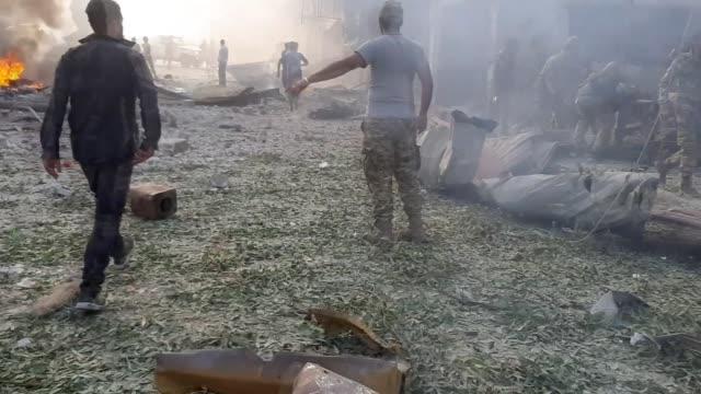 vídeos y material grabado en eventos de stock de at least 10 civilians, including children, were killed and many other injured saturday in a terrorist bomb attack in northern syria, according to an... - siria
