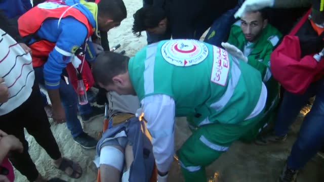 At least 11 Palestinian demonstrators were injured by Israeli gunfire off northern Gaza Strip's Beit Lahia shore the Palestinian Health Ministry...
