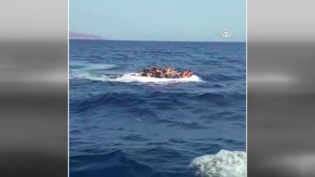 at least 22 irregular migrants have been rescued in the aegean sea off turkey's southwestern coast on august 04 2019 the migrants requested help from... - mittelmeer stock-videos und b-roll-filmmaterial