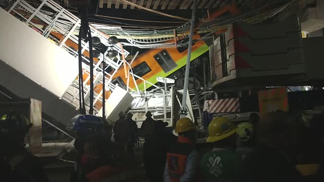 at least 23 people have been killed and 70 injured after a metro overpass and train crashed down onto a busy road in mexico city late on monday.... - motorway junction stock videos & royalty-free footage