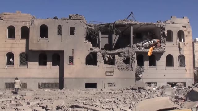 at least 33 inmates of a prison camp were killed by a saudiled coalition airstrike in yemeni capital sanaa on wednesday according to a source... - air attack stock videos & royalty-free footage