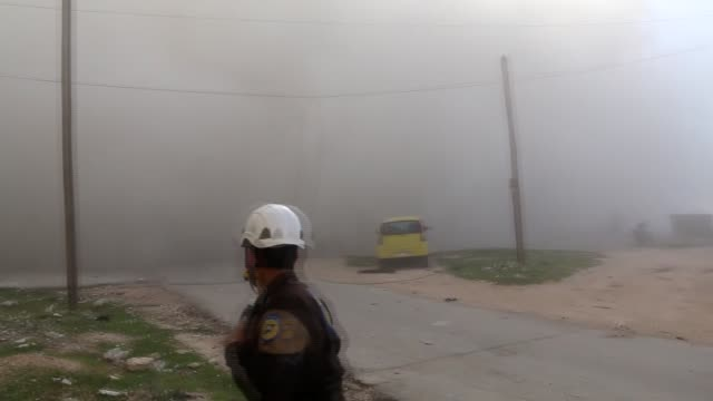 at least 5 civilians were killed and 15 others injured on tuesday in airstrikes by the syrian regime forces on oppositionheld areas in idlib... - luftangriff stock-videos und b-roll-filmmaterial