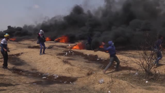 at least 50 palestinians on friday were injured by the israeli army amid ongoing demonstrations on the gaza strip's eastern border according to the... - historical palestine stock videos & royalty-free footage