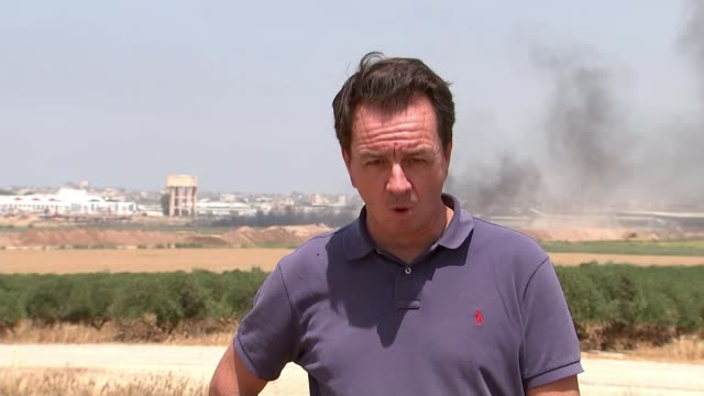 At least eight Palestinians dead after protests along Gaza's border with Israel ISRAEL / GAZA border EXT Reporter to camera