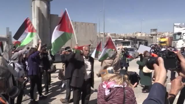 At least eight Palestinians were hurt on March 07 2018 in confrontations with Israeli troops at the Qalandia army checkpoint between the northern...
