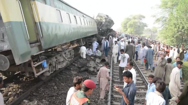 at least four people are killed and more than 100 injured when two trains collided in central pakistan - multan stock videos and b-roll footage