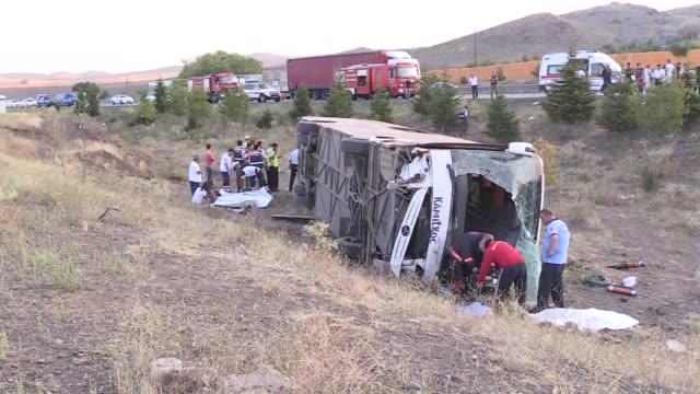 At least four people were killed and 18 others wounded early Monday in a bus crash on the KonyaAnkara highway on August 14 2017 in Ankara Turkey The...