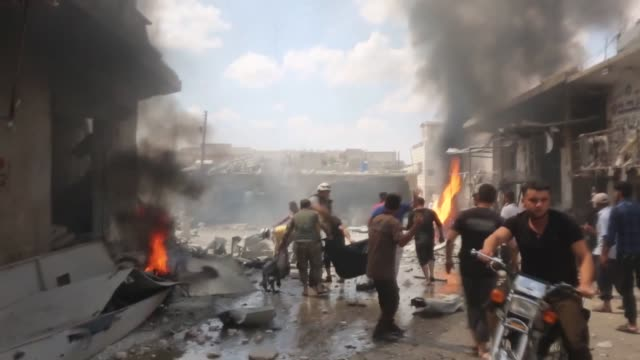 at least nine civilians were killed and 14 others injured in fresh regime airstrikes in the de-escalation zones in northwestern syria on july 16,... - ceasefire stock videos & royalty-free footage