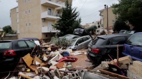 at least nine people have been reported dead in floods which happened after torrential rains struck the west athenian suburb of mandra on november... - emergency planning stock videos & royalty-free footage