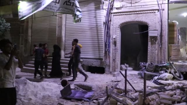 at least one person died and 11 others were injured on july 15, 2020 in two airstrikes carried out in civilian settlements in northern syria's al-bab... - air raid stock videos & royalty-free footage