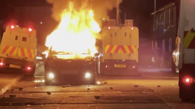 at least one police officer was injured in ongoing violence in northern ireland late friday, bringing the total number of police injuries to 74.... - belfast stock videos & royalty-free footage