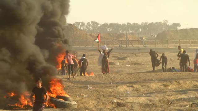 at least six palestinian protesters were martyred on friday by israeli army gunfire near the gaza-israel buffer zone, according to gaza's health... - historical palestine stock videos & royalty-free footage