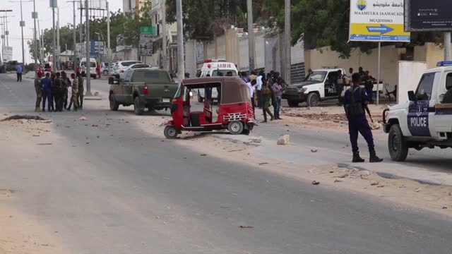 at least three people, including two soldiers, were killed in somalia's capital sunday morning in a bomb blast targeting a military vehicle carrying... - horn of africa stock videos & royalty-free footage