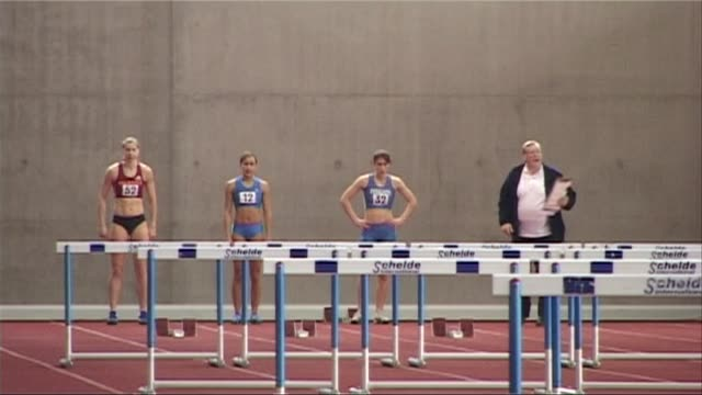 at Loughborough University Open meeting Jessica Ennis Indoor 100m hurdles race on July 26 2012 in Loughborough England