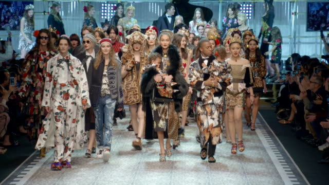 at milan fashion week: dolce and gabbana - a/w17 catwalk show on february 26, 2017 in milan, . - dolce & gabbana stock videos & royalty-free footage