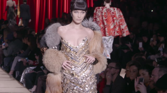 at milan fashion week: moschino - a/w17 catwalk show on february 23, 2017 in milan, . - catwalk stage stock videos & royalty-free footage