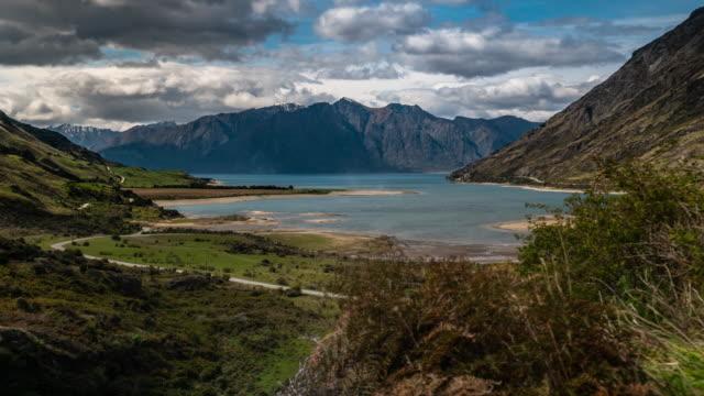 t\l at new zealand nature landscape at wanaka lake - māori people stock videos & royalty-free footage