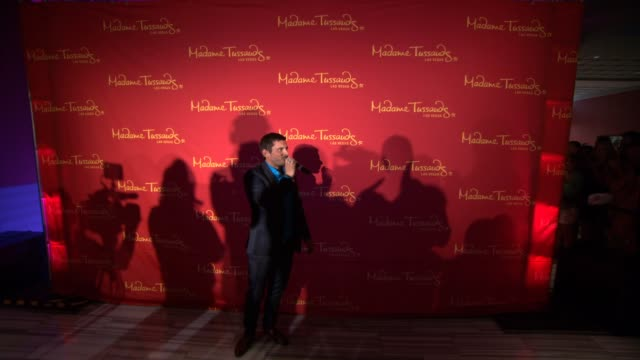 atmosphere at olivia newtonjohn strikes a pose with her brand new madame tussauds hollywood wax figure in las vegas nv - olivia newton john stock videos & royalty-free footage