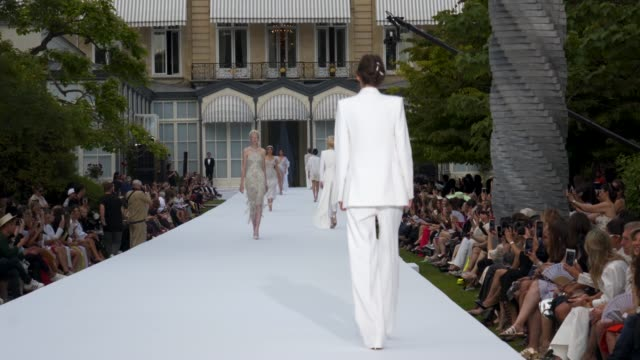 at pfw hc june a/w 2019/20 - ralph & russo on july 01, 2019 in paris, france. - ramp stock videos & royalty-free footage