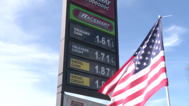 at raceway gasoline the cash price of unleaded gasoline has dropped to $161 per gallon / montage includes cu on sign showing price ws of the sign... - unleaded stock videos and b-roll footage