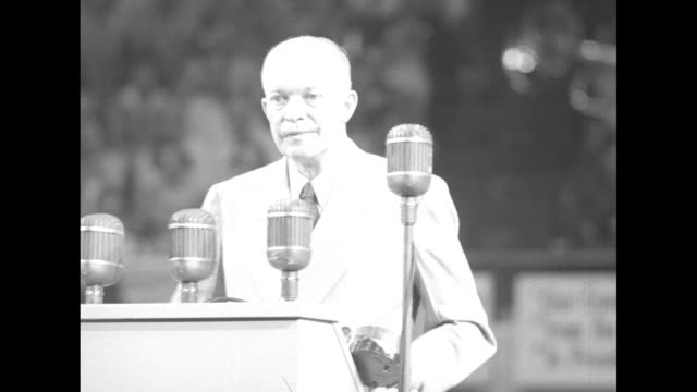 "at rally at olympia stadium, sot dwight eisenhower: ""if i by any manner contribute to unfair discriminatory treatment to any minority, i am thereby... - world war ii stock-videos und b-roll-filmmaterial"