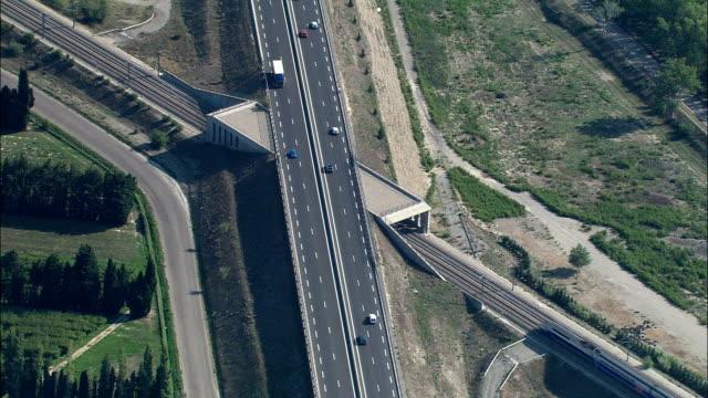 TGV At Speed  - Aerial View - Provence-Alpes-Côte d'Azur, Vaucluse, Arrondissement d'Avignon, France