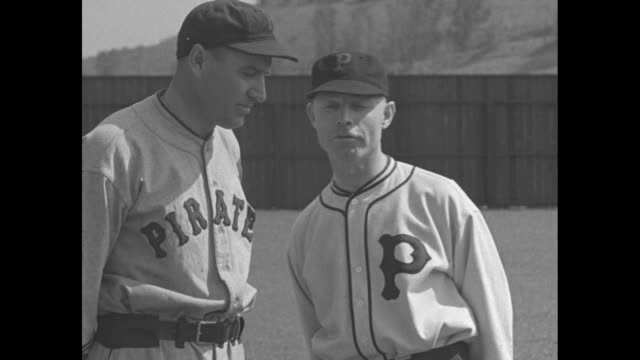 at spring training pittsburgh pirates manager harold pie traynor talks with club president william e benswanger about the 1935 team / note exact day... - spring training stock videos & royalty-free footage