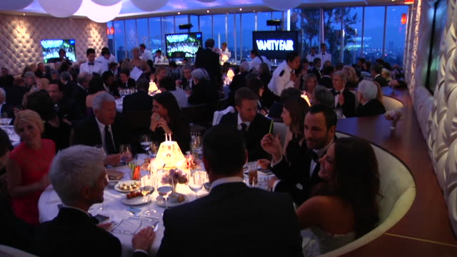 at the 2012 vanity fair oscar party hosted by graydon carter - inside party at west hollywood ca. - oscar party stock videos & royalty-free footage