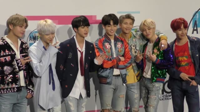 bts at the 2017 american music awards press room on november 19 2017 in los angeles california - american music awards stock videos & royalty-free footage