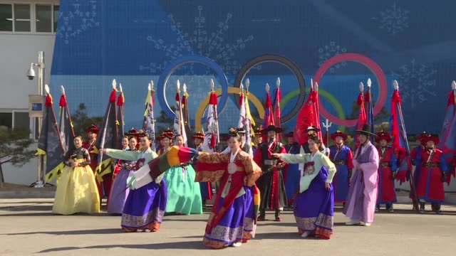 at the 2018 winter games in south korea a lunar new year's day performance is staged in the gangneung olympic park - capodanno coreano video stock e b–roll
