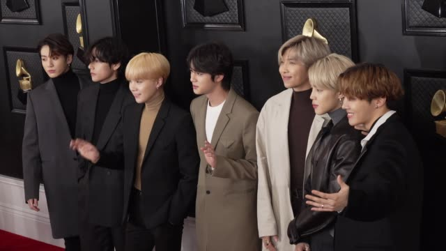 bts at the 62nd annual grammy awards arrivals at staples center on january 26 2020 in los angeles california - bts band stock videos and b-roll footage