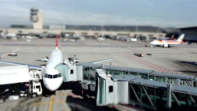 at the airport - time lapse - tilt shift stock videos and b-roll footage