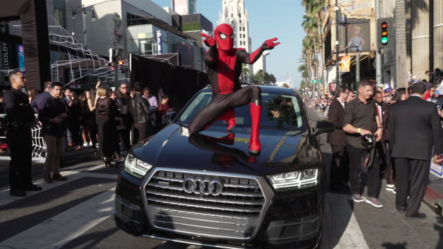 "atmosphere at the audi at the world premiere of ""spiderman far from home"" in los angeles ca - red carpet event stock videos & royalty-free footage"