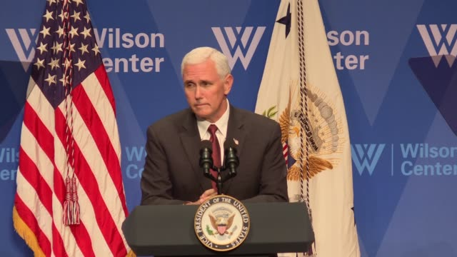at the beginning of a speech that is supposed to be about latin america us vice president mike pence addresses north korea and specifically the death... - university of virginia stock videos & royalty-free footage