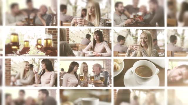 stockvideo's en b-roll-footage met in het café. video wall. - koffie drank