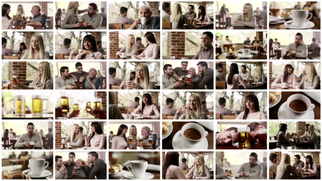 at the cafe. video wall. - film montage stock videos & royalty-free footage