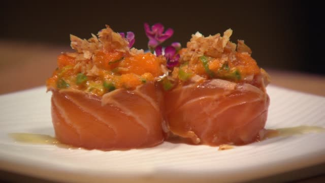 at the chicago restaurant juno on nov 27 2014 - nigiri stock videos and b-roll footage