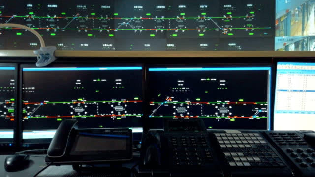 at the control center of the xi'an metro,shaanxi,china. - control panel stock videos & royalty-free footage