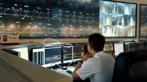 vídeos y material grabado en eventos de stock de at the control center of the xi'an metro,shaanxi,china. - metro transporte