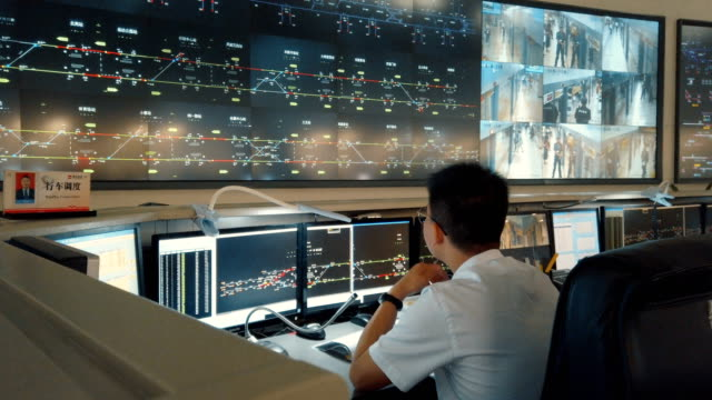 vidéos et rushes de at the control center of the xi'an metro,shaanxi,china. - salle de contrôle