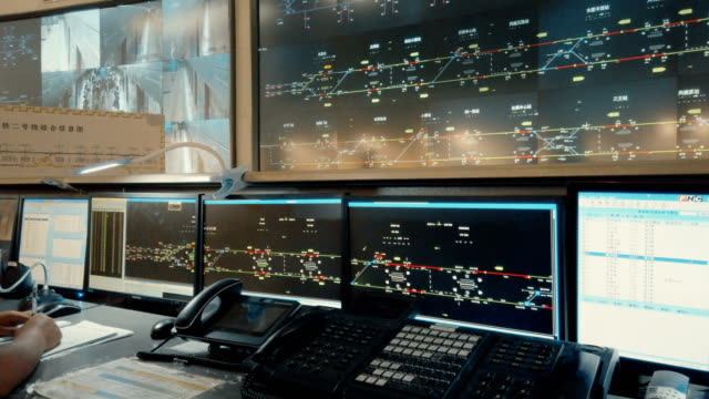 at the control center of the xi'an metro,shaanxi,china. - sala di controllo video stock e b–roll