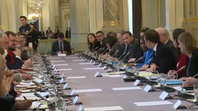 at the elysee palace french president emmanuel macron welcomes the one planet lab a delegation of economists researchers and industrialists set to... - clima video stock e b–roll